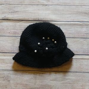 Black Winter Hat with Pearl Flower